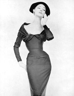 Ivy Nicholson in silk-satin cocktail sheath by Nina Ricci, photo by de Harambure, 1955