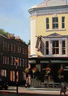 "A Tale of Two Pubs, Marylebone, London by Michael John Ashcroft Oil ~ 14"" x 20"""