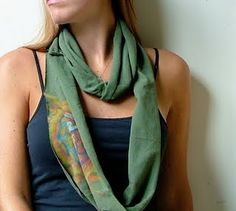 easy instructions on how to make an infinity scarf from an old tee or any extra fabric you have!