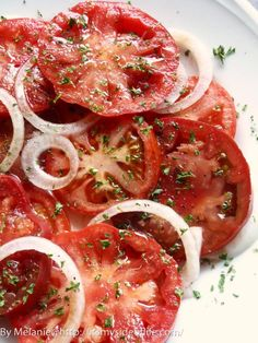 Balsamic Vinegar Tomato Salad ~ Slice up 5 washed tomatoes & arrange with 1 sliced Vidalia onion overlapping. Sprinkle with 1 to 2 Tbsp balsamic vinegar & 3 Tbsp EVOO. Sprinkle with basil, pepper & garlic powder to taste.