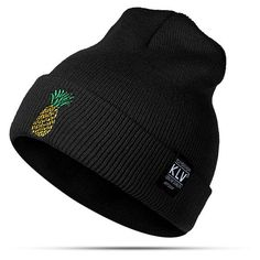 pineapple embroidered knitted beanies hats (45 NOK) ❤ liked on Polyvore featuring accessories, hats, black, pattern hats, pineapple print hat, embroidered beanie hats, beanie hat and embroidered beanie