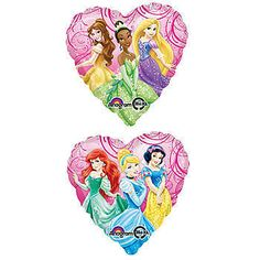Our Disney Princess Royal Event Balloon showcases three lovely Disney Princesses on each side. Each of the heart shaped mylar balloons measure 17 inches.