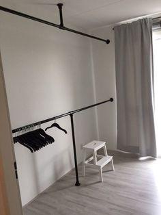 10 Attractive Open Wardrobe Ideas For Sophisticated Residence diy rohre Closet Bedroom, Bedroom Decor, Dressing Room Closet, Entryway Closet, Apartment Entryway, Attic Closet, Dressing Rooms, Entryway Ideas, Hallway Ideas
