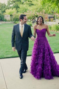 Oscar de la Renta ~ Sumana and Adam's Colorful Multicultural Wedding on Style Me Pretty