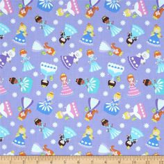 Timeless Treasures Snow Princess Metallic Tossed Princess Purple from @fabricdotcom  Designed for Timeless Treasures, this cotton print includes shades of purple, pink, blue, green, brown, yellow, peach, and black with silver glitter accents. Use for quilting, crafts and home decor accents.