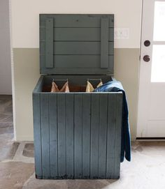 Amanda Transformed An Old Wooden Box Into A Hardworking Hamper By Installing Separate His N