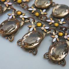 Vtg Art Deco Dot & Leaf Enamel Citrine Yellow Glass Necklace Earrings Set