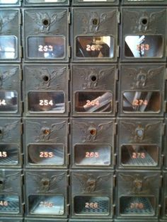 Old post office mail boxes, had these in college.