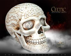 Detail View of Celtic Sculpted Skull 7594 by YTC Summit