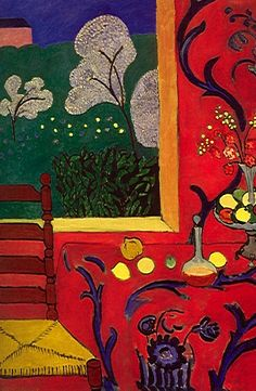 """Henri Matisse_Harmony or The Red Room. 1908_Crop. Is that a window or a painting? Matisse: """"What I dream of is an art of balance, of purity and serenity devoid of troubling or depressing subject matter."""""""