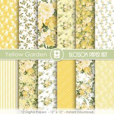 Flower Digital Paper  Yellow Digital Papers Floral Digital Paper Pack Rose Digital Scrapbooking Rose Papers - INSTANT DOWNLOAD  - 1929  flowers digital paper floral digital paper scrapbook floral floral papers paper scrapbooking rose yellow yellow digital paper digital paper yellow rose digital paper  blossompaperart 3.99 USD
