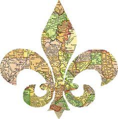 Graphics Cottage: Louisiana Fleur de Lis Map Graphic Image
