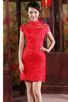 Amazing Column Short Sleeve Red Lace Short Chinese Wedding Dress