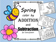 Great practice of addition and subtraction within 10 for younger learners. Perfect for the spring time season and end of year review.   This packet includes 5 color by addition sheets and 5 color by subtraction sheets.   Also helps students practice identifying color words!  Common Core Standards covered in this product:  Fluently adding and subtracting