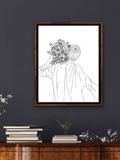 2 Colours, Line Drawing, Line Art, Poppy, Modern Art, Minimalist, Display, Create, Collection