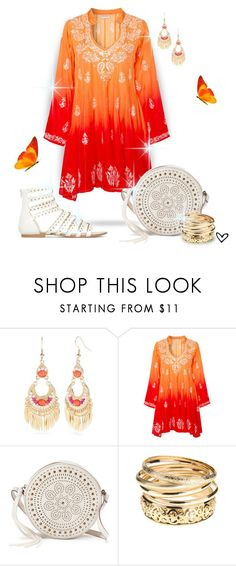 """~Juliet Dunn~ Embroidered Silk Dress ~"" by justwanderingon ❤ liked on Polyvore featuring Red Camel, Juliet Dunn, Mudd, orangedress and EmbroideredDress"