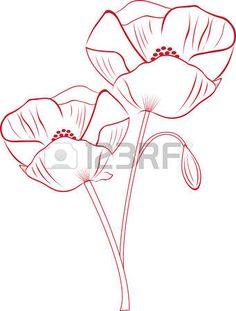 Capturez la beaut� exotique de fleurs de pavot avec cette conception par des motifs de broderie! photo