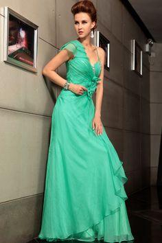 Fashion Green One Shoulder Long Falbala Hem Banquest Prom Evening Dress Formal Dress,<3!