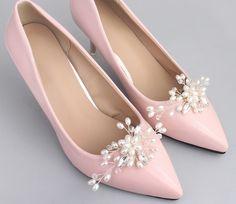 Ribbon Bow Faux Pearl Rhinestone Wedding Bridal High Heel Shoe Clips Decoration