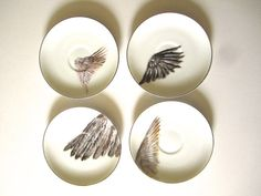 Handpainted Teacups & Saucers  Set of Four  Silver by TeacupCo