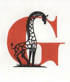 G is for Giraffe - Papercut art