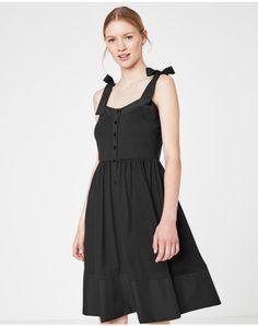 Jersey dress with ribbon shoulder straps - HALLHUBER