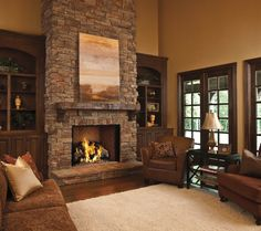 built ins around tall stone fireplace - Google Search