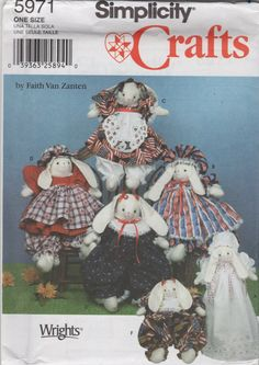 Simplicity 5971 Bunnies and Bunny Doll Clothes Pattern sewing pattern by mbchills