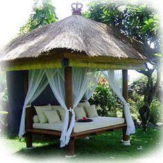 Bali gazebo - The Balinese gazebo lends an exotic tropical vibe to your backyard.