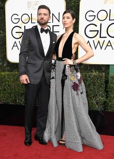 JUSTIN TIMBERLAKE AND JESSICA BIEL Timberlake in Tom Ford. Biel in Elie Saab Haute Couture and  Salvatore Ferragamo shoes.