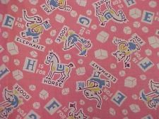 Vintage Antique Cotton Quilt Doll Fabric Print 30s TINY Novelty Animal Pink