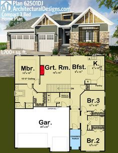 Architectural designs compact 3 bed house plan 62501dj for Ready to build house plans