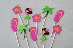 12 Luau/Hula Cupcake Toppers, Pool Party, Cookout, Hawaiin Luau Birthday , Flip Flop Toppers, Tiki, Hibiscus