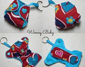 """Fitted Cloth Diaper Keychain Charm 2"""", fitted diaper with insert, Hearts print, Key chain diaper, cloth diaper ornament Valentine's Day"""