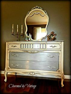 Great dresser and mirror in Paris Grey, Old White Chalk Paint® by Annie Sloan, and dark wax.