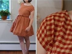 Fifties Full Skirt Vintage Inspired Dress Red  -Material: cotton -Price: €65