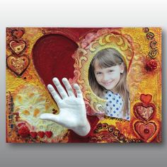 Handabdruck Kind mit Herz Motiv, Mixed-Media-Technik, Ivana Irmscher Be happy Gipsabdruck Fürth, www.be-happy-gipsabdruck.de