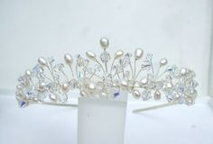 Delicate Freshwater pearl and Swarovski crystal tiara