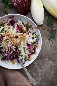Red Cabbage Radicchio and Endive Salad from Gourmande in the Kitchen  | A Winter Salad