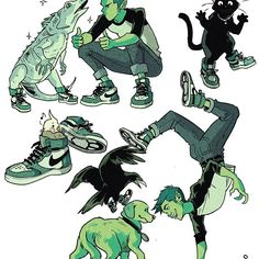 They love his shoes so he's got a pair for everyone Who wore it better? #beastboy #teentitans #doodles