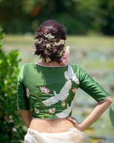 Blouse Back Neck Designs, Fancy Blouse Designs, Pattu Saree Blouse Designs, Saree Blouse Patterns, Types Of Dresses Styles, Embroidered Blouse, Nature Inspired, Lehenga, Studio