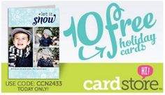 FREE Holiday Cards 2012 from Cardstore – TODAY ONLY We have a HOT Freebie for you from Cardstore! TODAY ONLY (11-8-12) you can score 10 Free Personalized Holiday Cards when you use the coupon  ...
