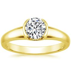 18K Yellow Gold Petite Semi-Bezel Ring from Brilliant Earth