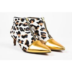 Pre-Owned Marni Nib $890 Black Tan Gold Leopard Print Pony Hair Cap... ($360) ❤ liked on Polyvore featuring shoes, boots, ankle booties, multi, high heel booties, leopard print booties, black ankle booties, pointed toe ankle boots and tan ankle boots