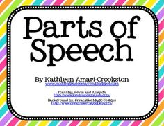 "FREE: Includes a ""Parts of Speech"" poster and a mini poster for all eight parts of speech. Also, there are four words to go under each poster as examples of the parts of speech. Repinned by SOS Inc. Resources pinterest.com/sostherapy/."