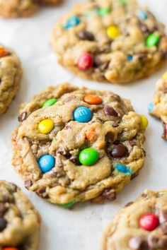 Thick and chewy, these flourless monster cookies are so easy to make. They require only one bowl and are filled with your favorite monster cookie ingredients. Gluten free options are super easy to add (Gluten Free Recipes Brownies) Gluten Free Sweets, Gluten Free Baking, Dairy Free Recipes, Baking Recipes, Easy Gluten Free Cookies, Gluten Free Kids Snacks, Healthy Recipes, Rice Recipes, Healthy Desserts