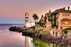 Cascais - Portugal. The lighthouse, from 1868, is a museum called Farol de Santa Marta - the first lighthouse-museum in Portugal.