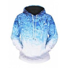 36e4318cd Ice Print Kangaroo Pocket Hoodie  Fashion  Mens  Men  Blue