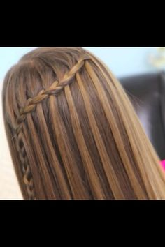 Feather braid made into a faux waterfall braid by CuteGirlsHairstyles.
