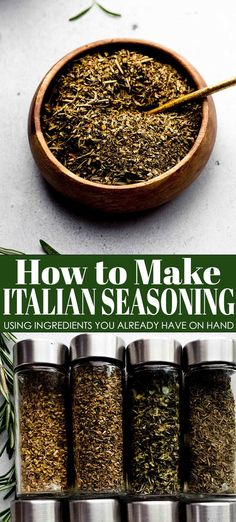 Homemade Italian seasoning is made with dried herbs (that you probably have on hand) and can be used for a variety of dishes - from chicken to pasta. // recipe easy How To Dry Oregano, How To Dry Basil, Homemade Italian Seasoning, Most Pinned Recipes, Healthy Chicken Parmesan, Salmon Seasoning, Homemade Tacos, Getting Hungry, Drying Herbs